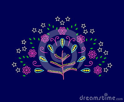 Vector tree of love with abstract flowers