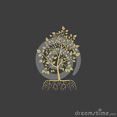Vector tree with roots logo element Vector Illustration