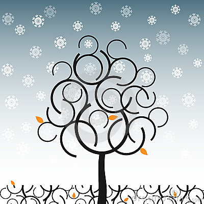 Vector tree in winter