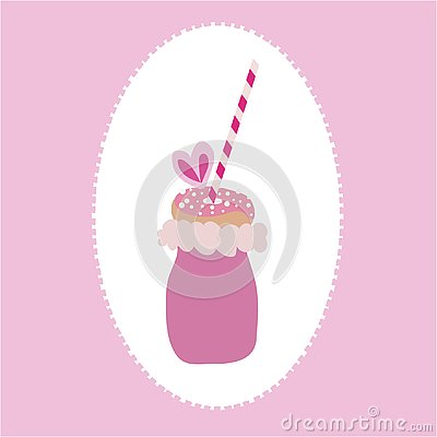 Vector of trendy freakyshake with cotton candy, doughnut with sprinkles, and a straw on a pink and white background. Vector Illustration