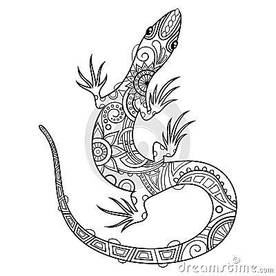 vector tribal decorative lizard stock vector image 52847639. Black Bedroom Furniture Sets. Home Design Ideas