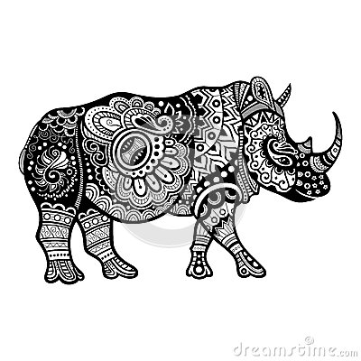 Free Vector Tribal Decorative Rhinoceros Stock Images - 48427224