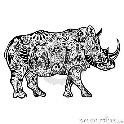 Free Vector Tribal Decorative Rhinoceros Royalty Free Stock Photo - 52847515