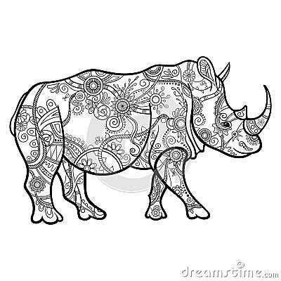 Free Vector Tribal Decorative Rhinoceros Royalty Free Stock Image - 52850266