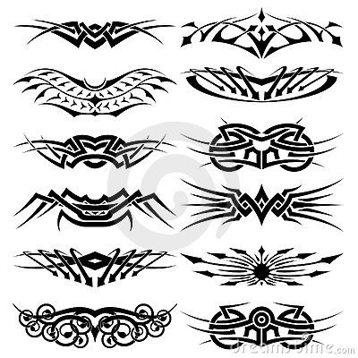 Vector tribal tattoo set