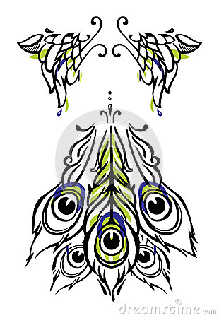 Tattoo or body-art style peacock wings and tail on white. Vector