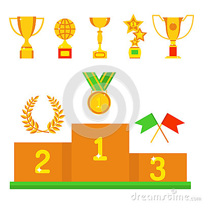 Free Vector Trophy Champion Cup Flat Icon Winner Gold Award And Victory Prize Sport Success Best Win Golden Leadership Royalty Free Stock Photo - 88787575