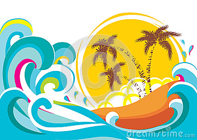 Vector tropical island with waves