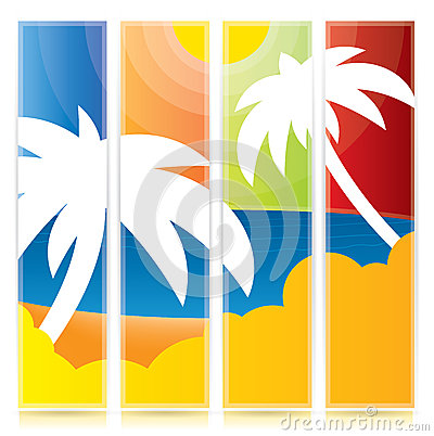 Vector tropical palm tree banner set
