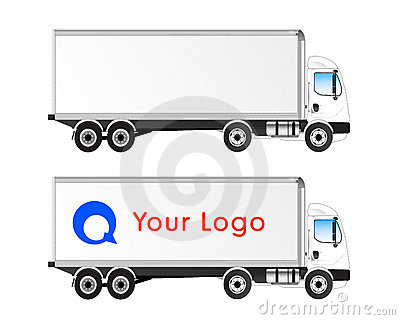Vector truck profile isolated blank