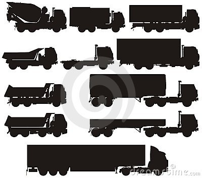 Vector truck silhouettes set