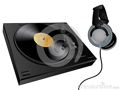 Vector turntable and headphones