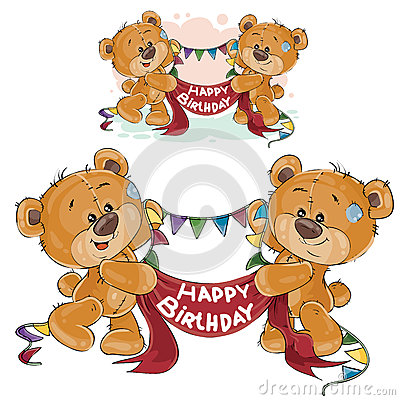 Vector two brown teddy bears holding in their paws a garland and banner with the inscription Happy Birthday Vector Illustration