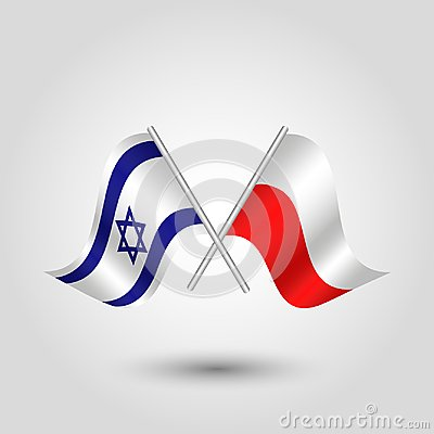 Free Vector Two Crossed Israeli And Polish Flags On Silver Sticks Stock Photo - 108651020
