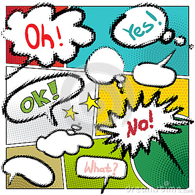 Vector typical comic book page with various speech bubbles