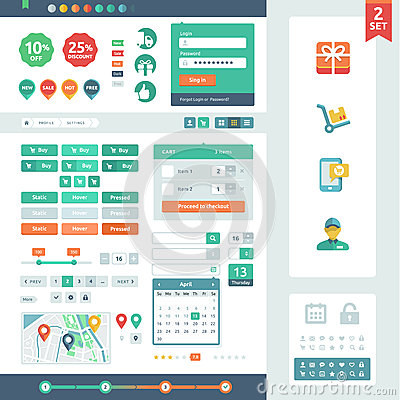 Free Vector UI Elements For Web And Mobile. Stock Photo - 31844500