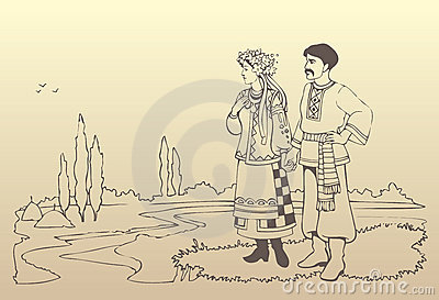 Vector ukrainian couple in national costumes