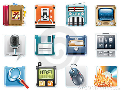 Vector universal square icons. Part 3 (white)