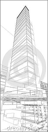 Vector urbano 171 del rascacielos