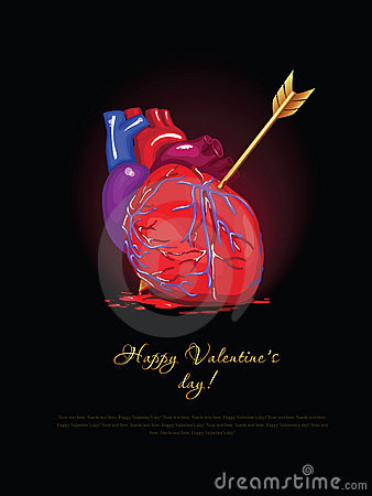 Vector Valentine Card. Broken Heart Royalty Free Stock Photography - Image: 7929017