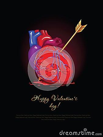Vector valentine card. broken heart