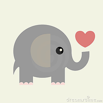 Free Vector Valentine Card(elephant) Royalty Free Stock Images - 8228079