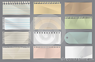 Vector various note papers