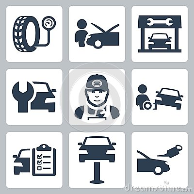 Vector vehicle service station icons