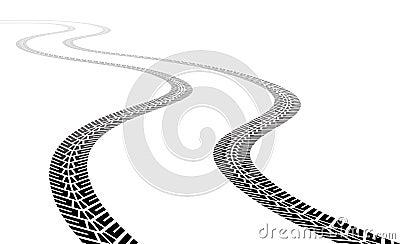 Vector vehicle tire tracks Vector Illustration