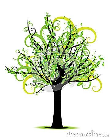 Vector del árbol de la primavera