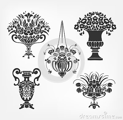 Vector victorian baroque design elements flower vase set Stock Photo