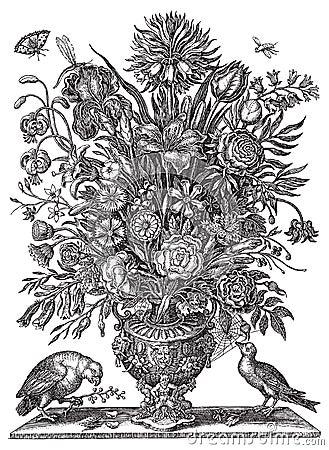 vector victorian flower bouquet in vase with birds stock