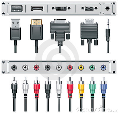 Free Vector Video And Audio Connectors Stock Photos - 18672503