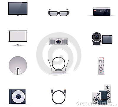 Free Vector Video Electronics Icon Set Royalty Free Stock Image - 28679916