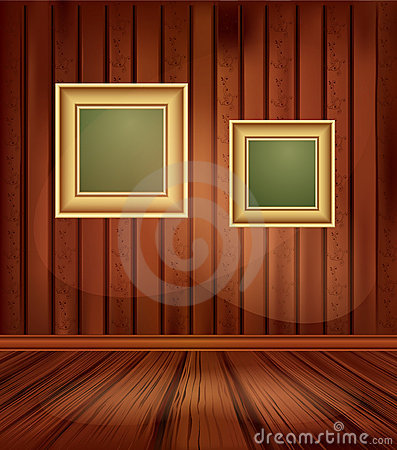 Vector vintage background with two gold frames
