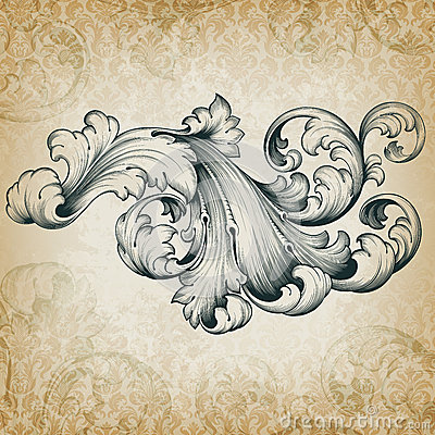 Free Vector Vintage Baroque Floral Scroll Pattern Stock Photos - 27000043