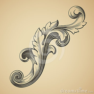 Free Vector Vintage Baroque Pattern Design Element Royalty Free Stock Photo - 24407245