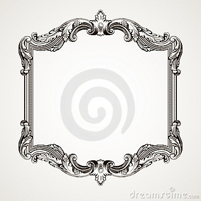 Vector vintage border  frame engraving