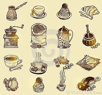 Free Vector Vintage Coffee Set. Royalty Free Stock Photography - 68676077