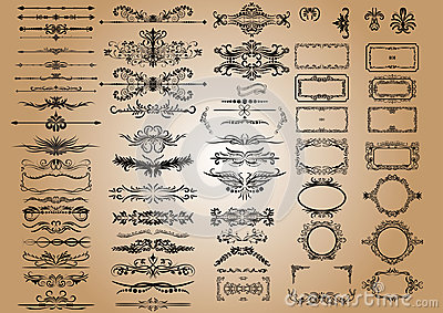 Vector Vintage Decorations Elements. Flourishes Calligraphic Ornaments and Frames. retro Style Design Collection Vector Illustration