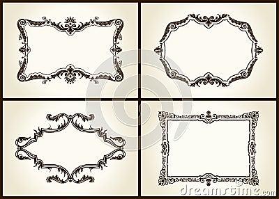 Vector vintage design retro frames ornament label