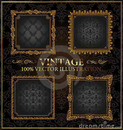 Vector vintage Gold frames ornament label