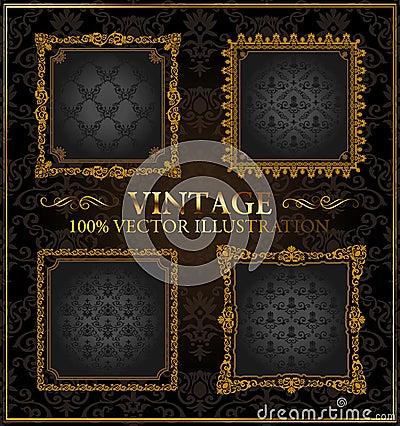 Vector vintage Gold frames ornament label