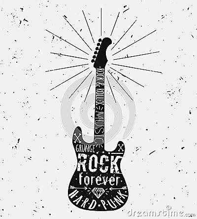 Free Vector Vintage Guitar Label With Sunburst, Diamond, Bones, Arrow Royalty Free Stock Images - 90146329
