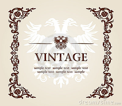 Vector vintage heraldic imperial frame eagle