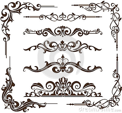 Free Vector Vintage Ornamental Frames And Corners Royalty Free Stock Images - 45122699