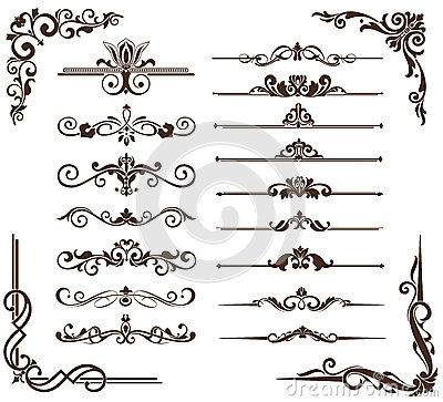 Free Vector Vintage Ornaments, Corners, Borders Royalty Free Stock Photo - 51836865