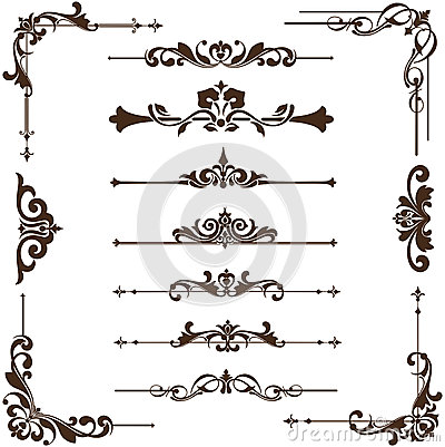 Free Vector Vintage Ornaments, Corners, Borders Stock Photo - 51837920