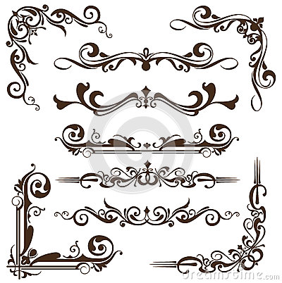Free Vector Vintage Ornaments, Corners, Borders Royalty Free Stock Photo - 51861535