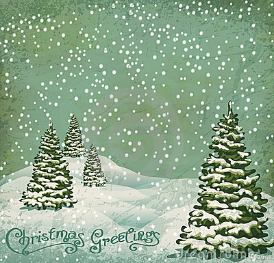 Free Vector Vintage Postcard Christmas Royalty Free Stock Photo - 22031565